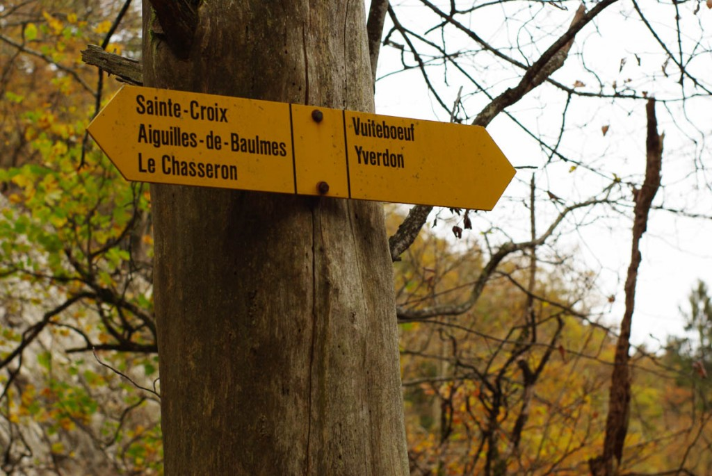 panneau balisant le chemin de randonnée en Suisse