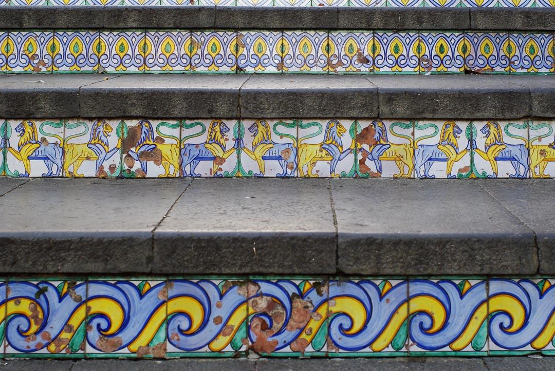 Détail de l'escalier de céramique à Caltagirone
