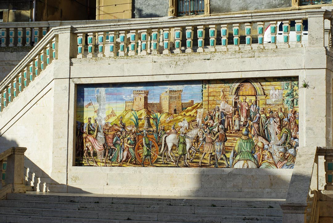 Fresque en céramique à Caltagirone