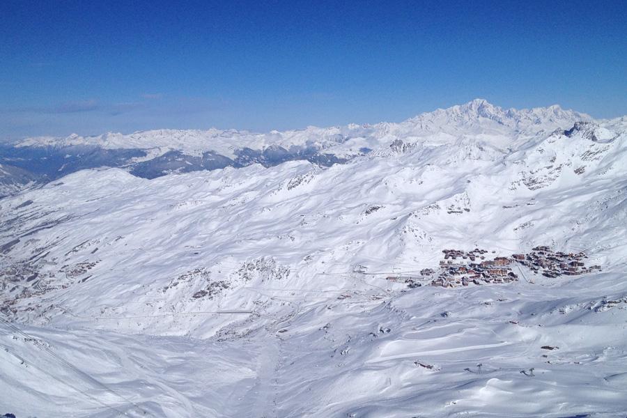 vue sur Val Thorens et le Mont Blanc
