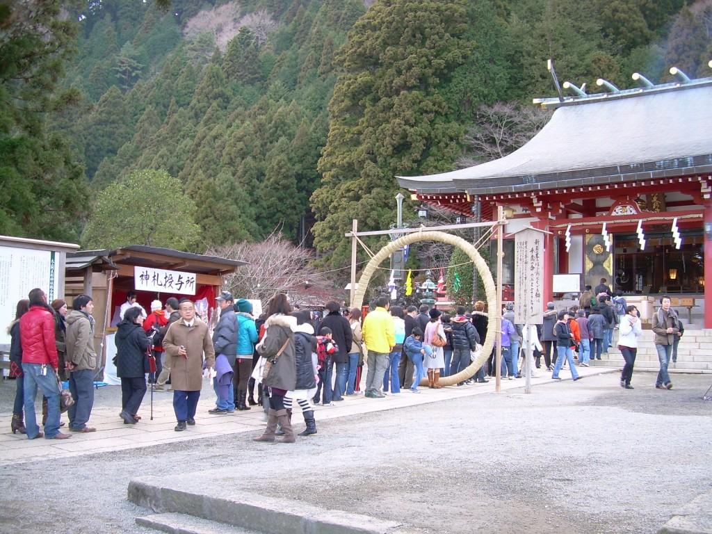File d'attente pour les voeus du novel an au temple d'Oyama