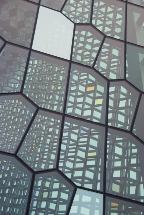 détail de l'architecture de l'opéra de Reykjavik