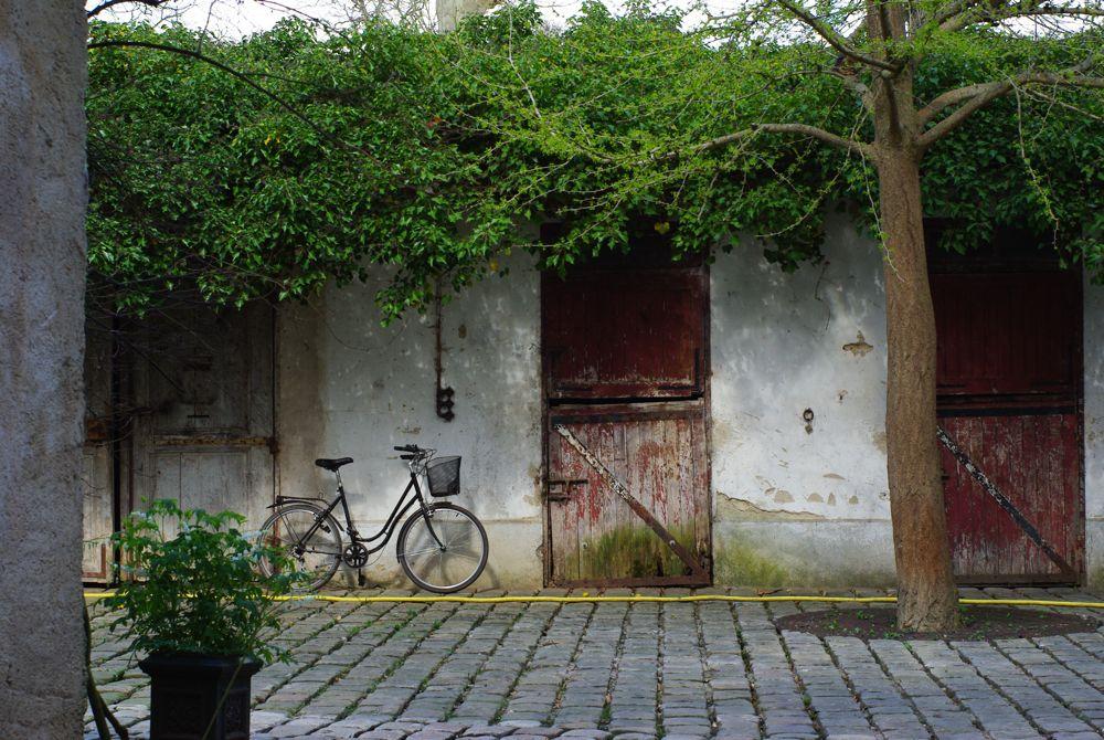 une rue et un vélo dans barbizon