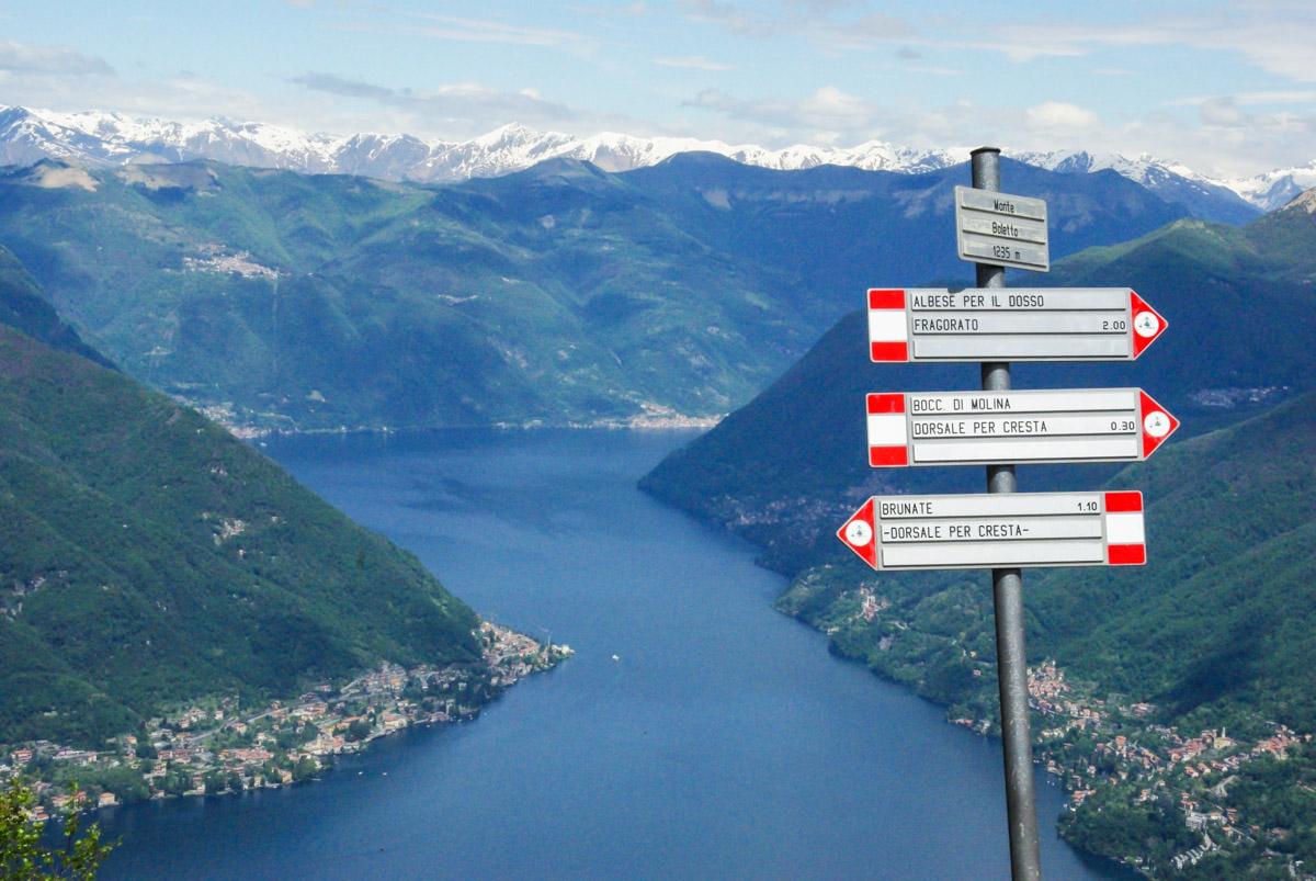 Vue sur le lac de Come depuis le mont Boletto