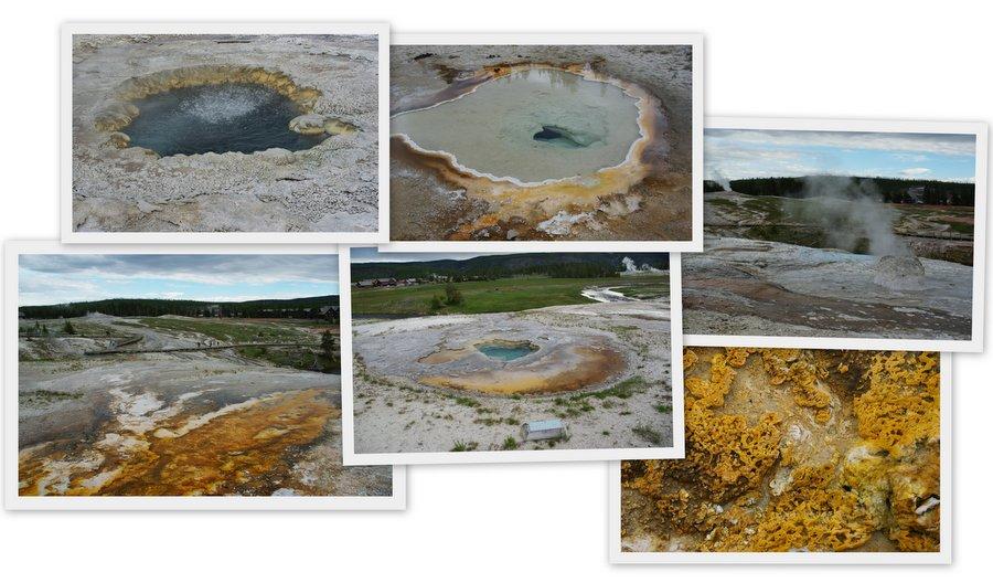 mosaiques de photos de geyser de l'Upper Geyser Bassin - Yellowstone