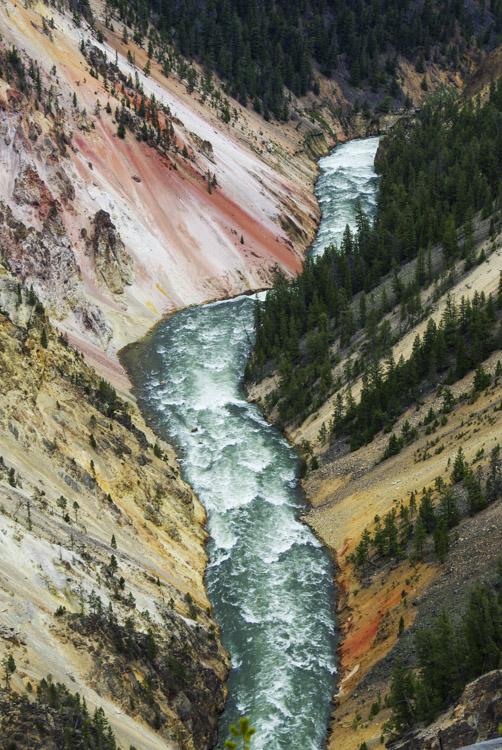 Vue de haut sur la Yellowstone River