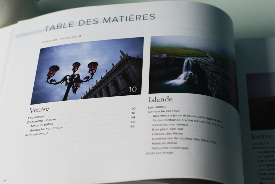 table des matières de la démarche du photographe