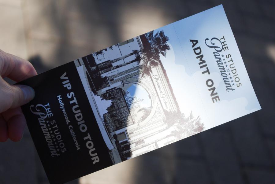 ticket d'entrée pour la visite des studios