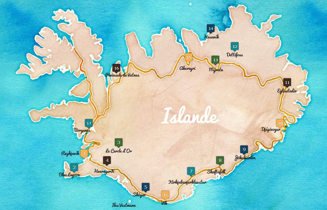 carte islande itineraire route 1
