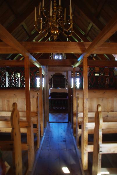 intérieur de l'église en tourbe de Vidimyrarkirkja