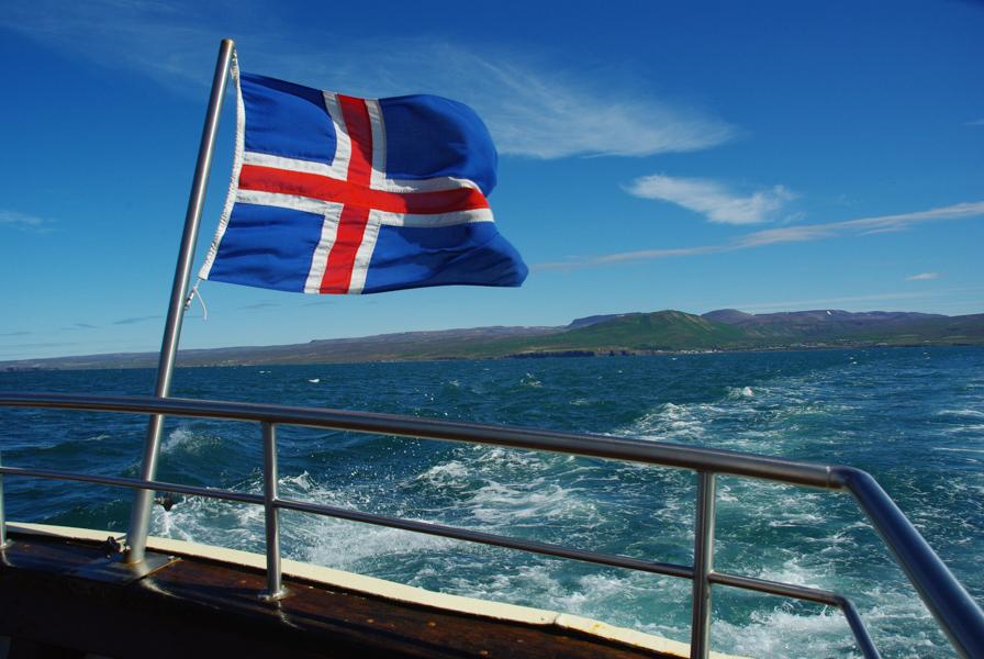 le drapeau islandais flotte au vent