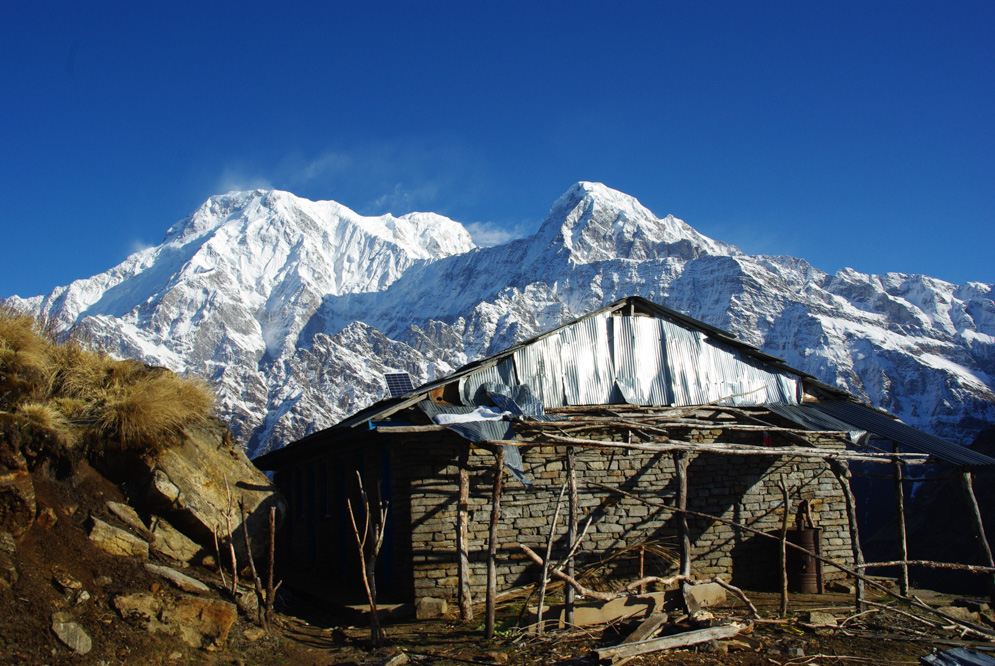Vue sur l'Annapurna South depuis High Camp