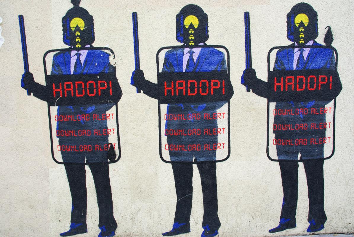 street art anti hadopi à la Butte aux Cailles