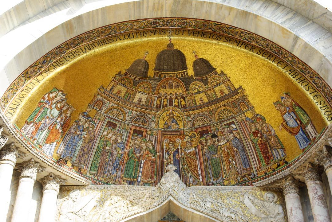 détails d'une mosaique de la basilique saint marc à Venise