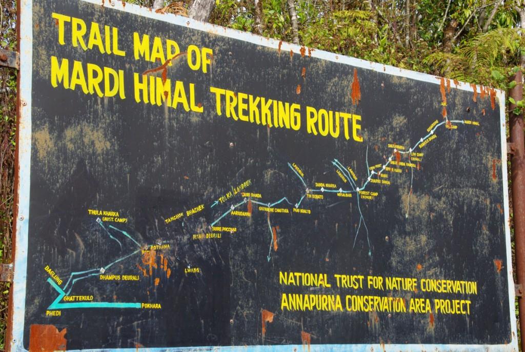 Carte du trek de Mardi Himal
