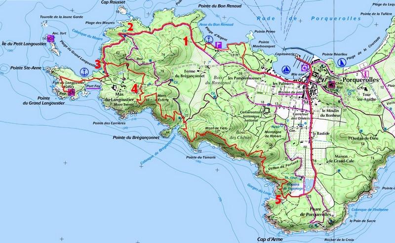 Itinéraire de la randonnée à Porquerolles