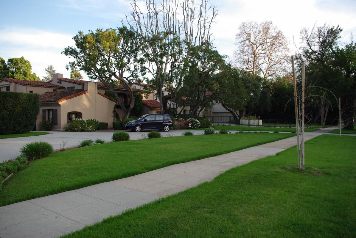 Pelouse bien verte dans la banlieue de Los Angeles