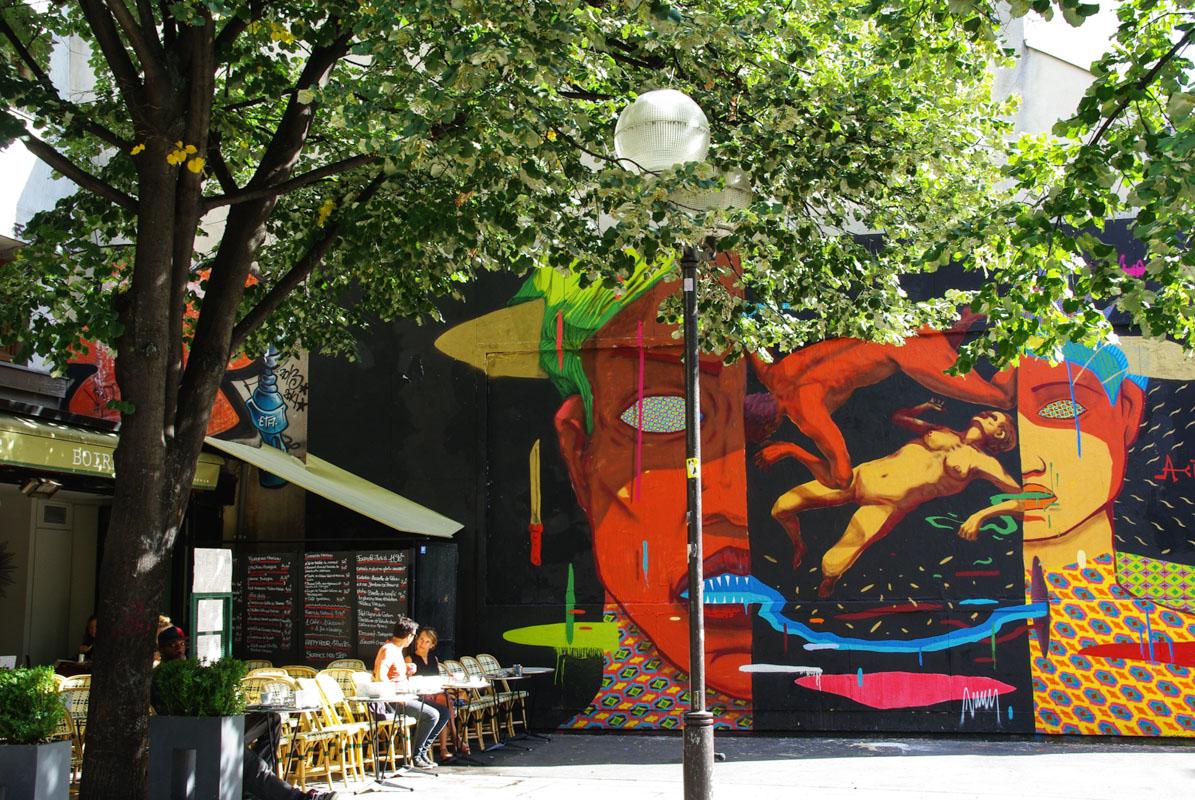 fresque street art rue Oberkampf - Paris