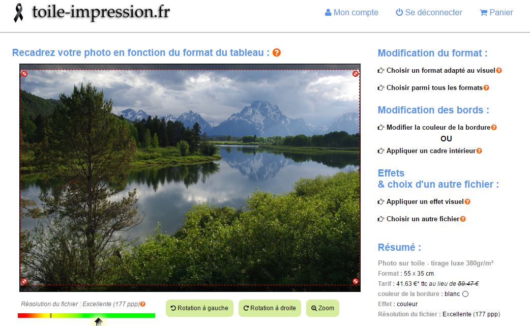 capture d'écran site toile-impression.fr
