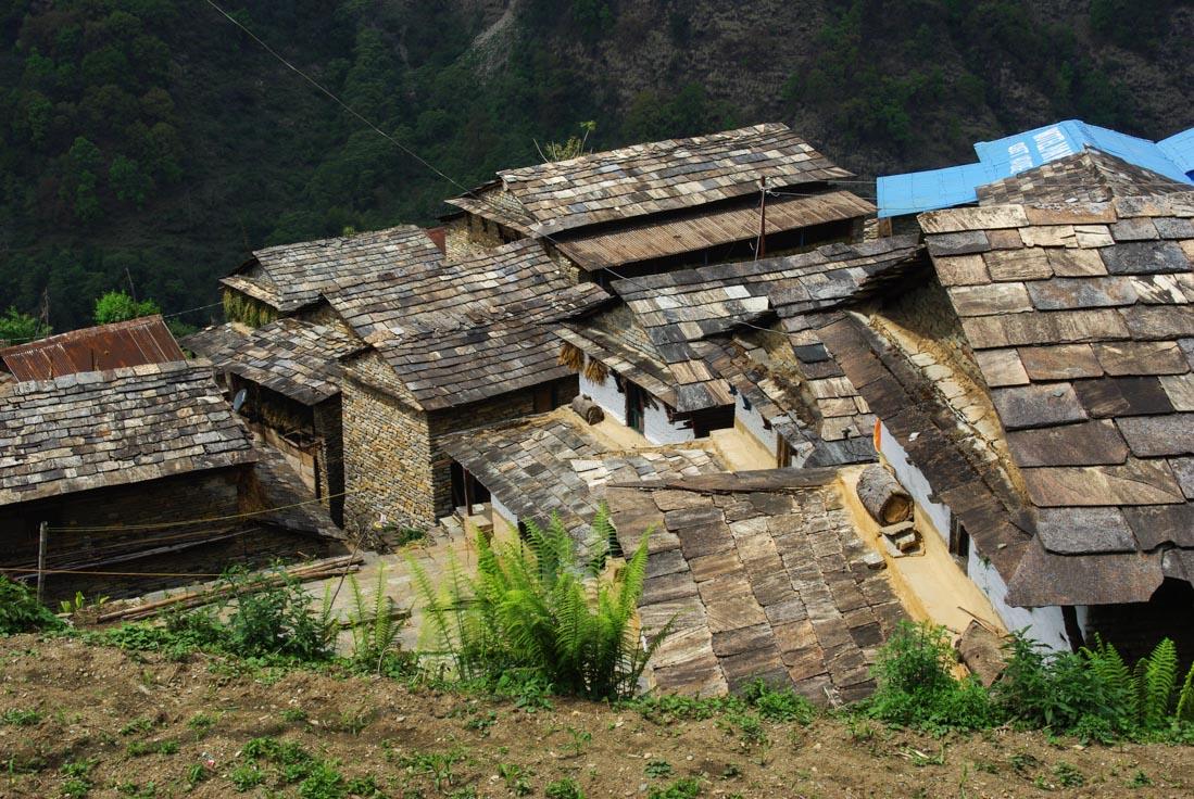les toits du villages de Landruk