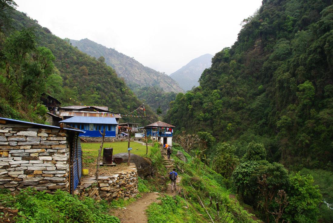 Chemin du sanctuaire des Annapurnas entre Landruk et Jhinu
