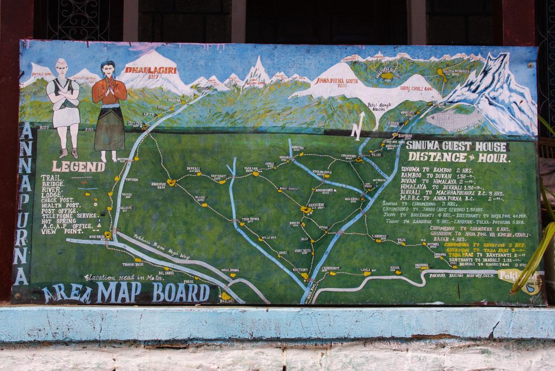 carte trek du sanctuaire des Annapurnas