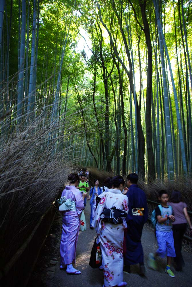jeunes femmes en kimono - bambouseraie d'Arashiyama