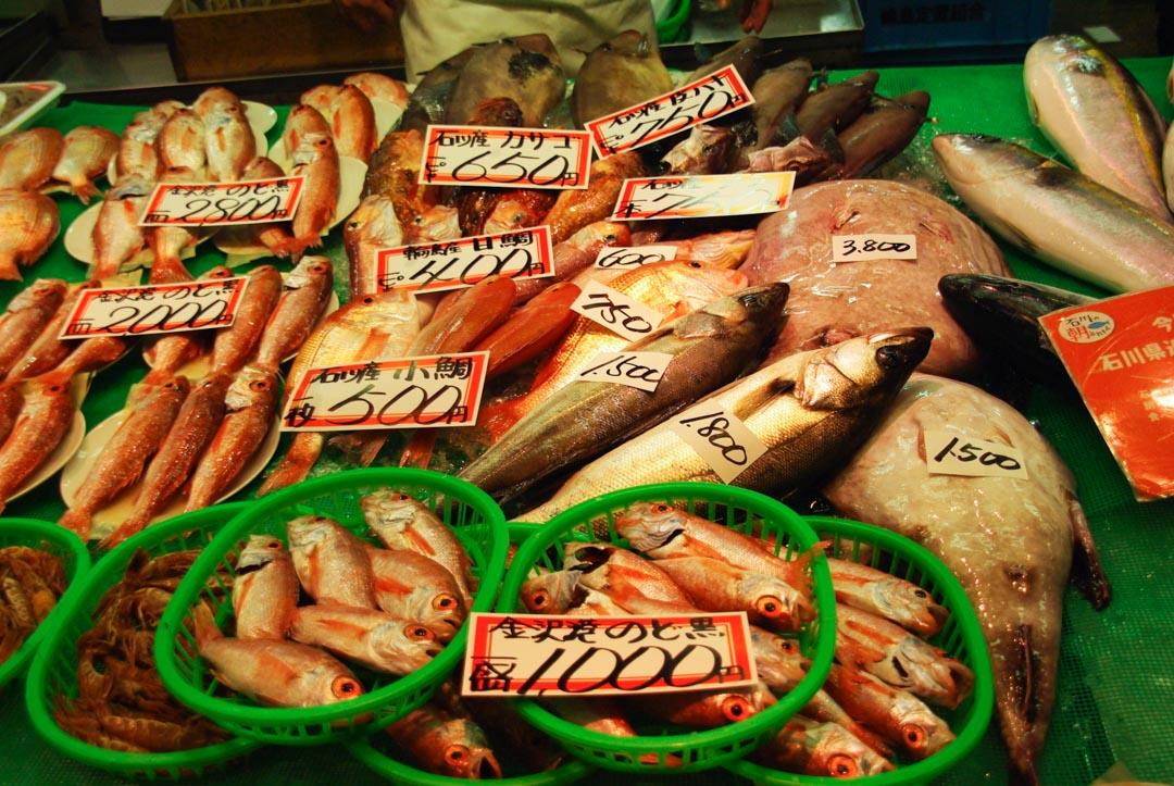 stand de poissons frais au marché Omicho à Kanazawa