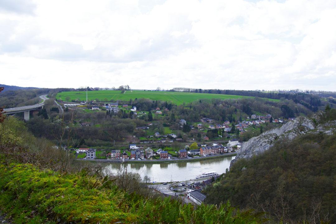 vue sur la Meuse depuis l'accrobranche Dinant Evasion