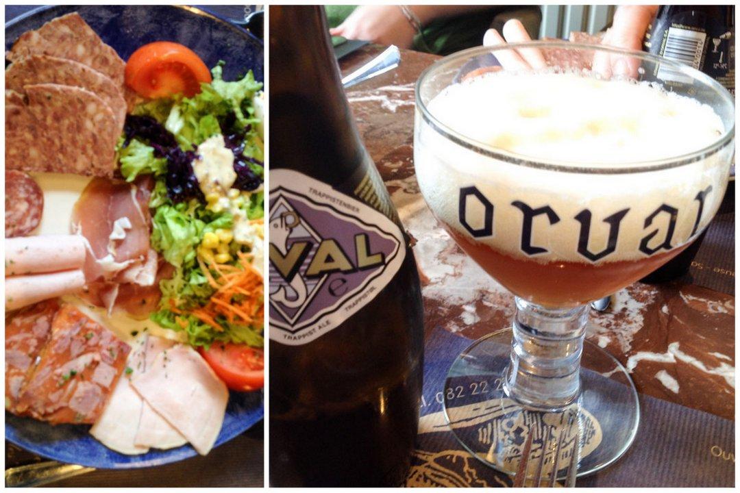 repas assiette du terroir et bière belge
