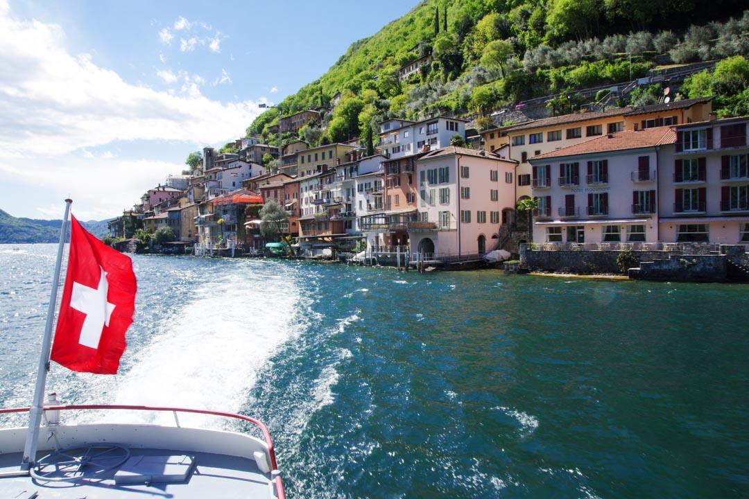 départ en bateau du lac de Lugano