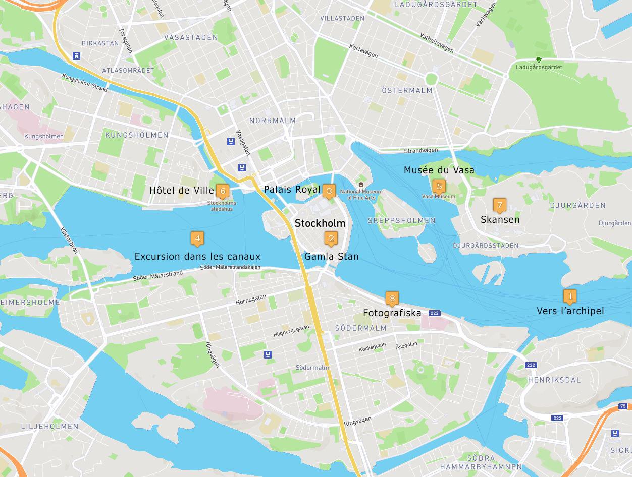 Carte des incontournables de Stockholm