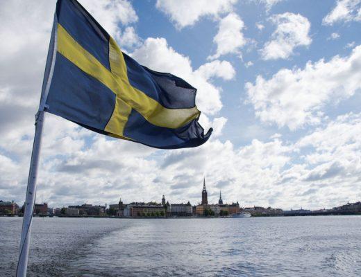 stockholm ave drapeau suédois