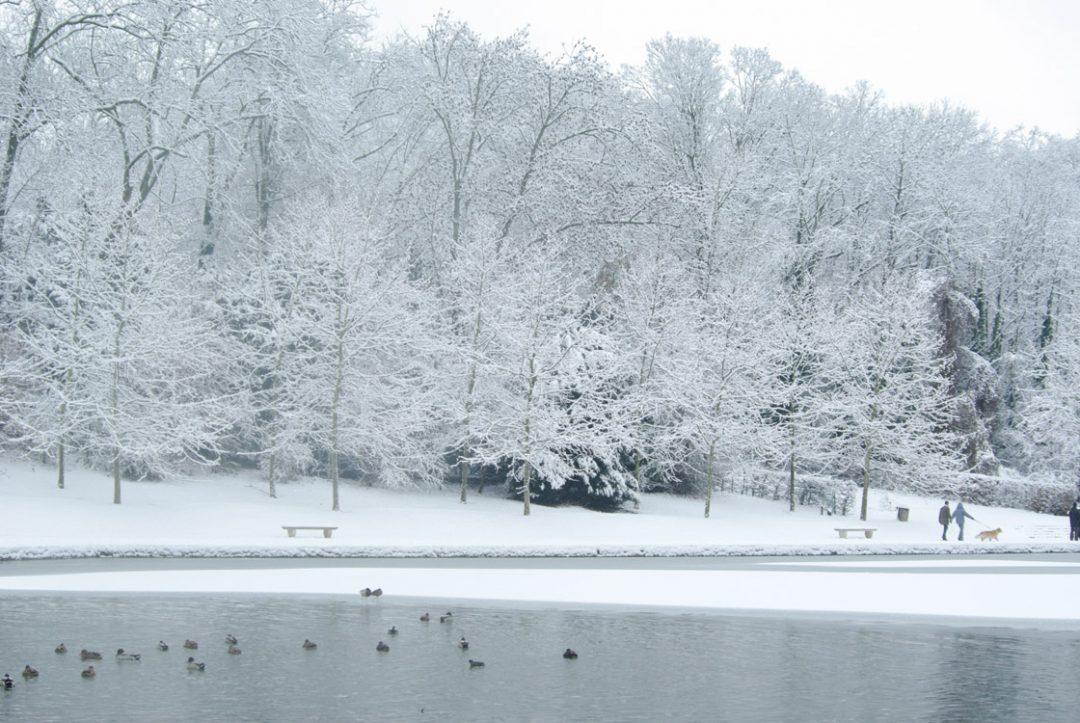 Le bassin de l'octogone sous la neige