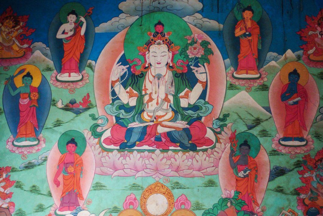 Dessin de Bouddha - Temple de Gandruk - Annapurnas - Népal