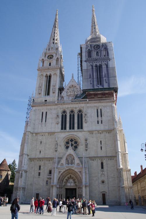 Façade de la cathédrale de Zagreb