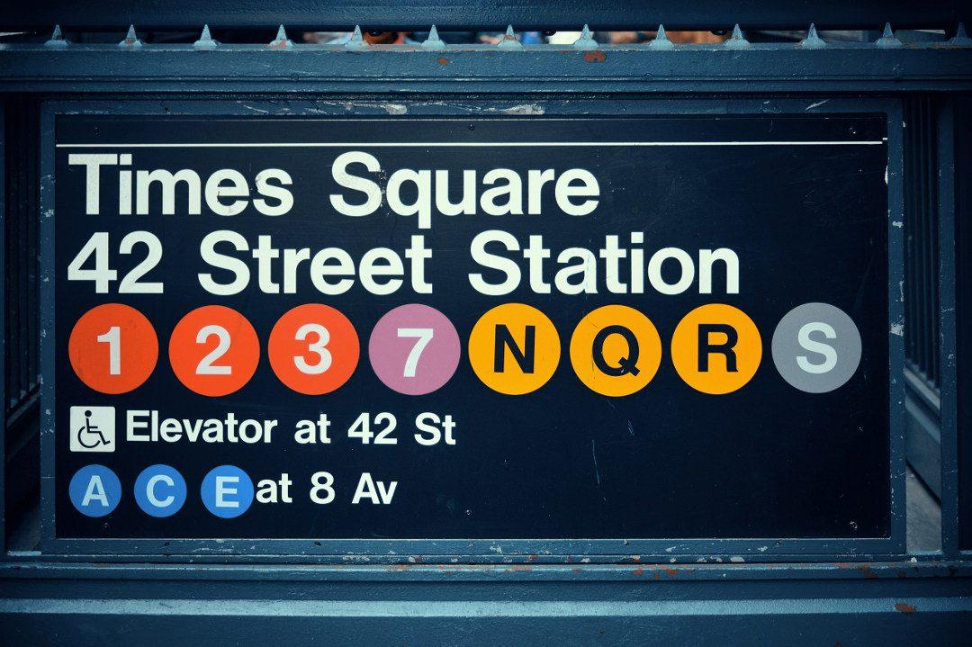 Entrée du Métro de New York à la station Time Square