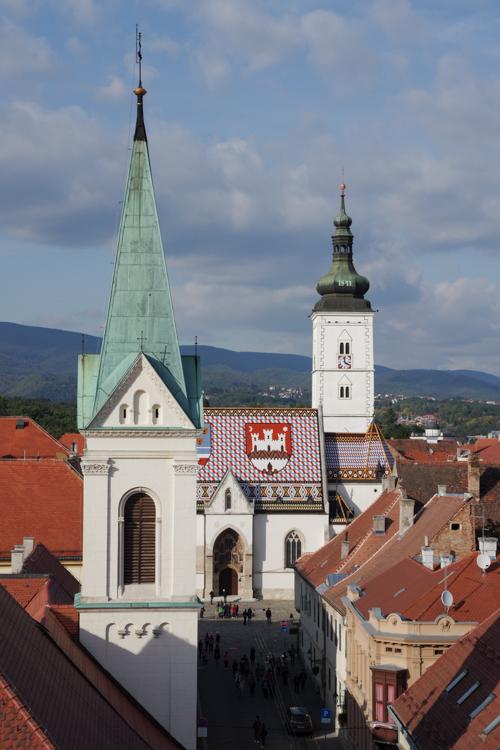 Panorama sur l'église Saint Marc depuis la Tour Lotrscak - Zagreb