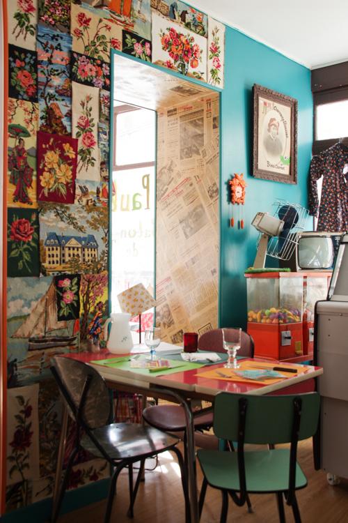 Décoration rétro au restaurant Chez Paulette à Bayeux