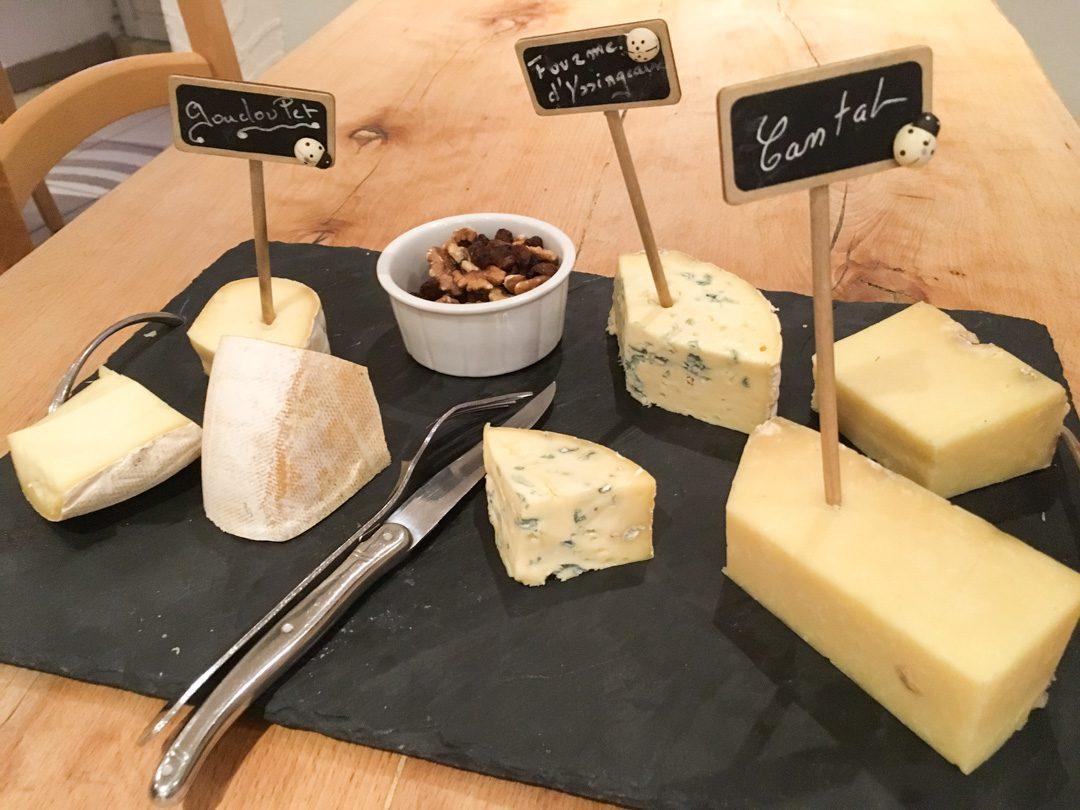 plateau de fromage du gite la cabourne