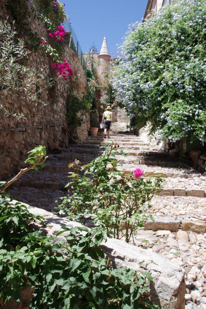ruelle fleurie dans la ville haute de Hyères