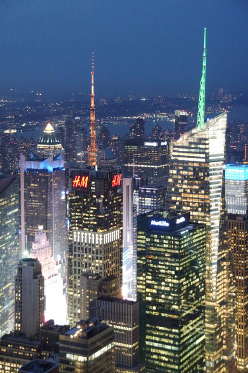 Vue sur Time Square de Nuit depuis l'Empire State Building