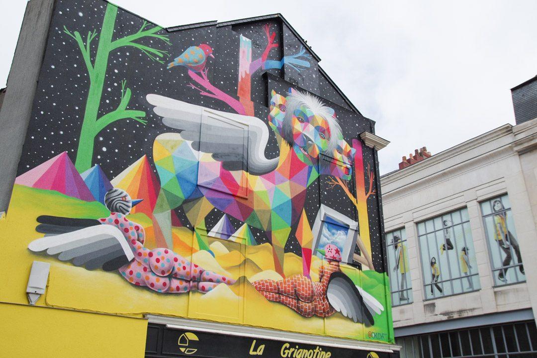Fresque de street art par Okudart à Angers