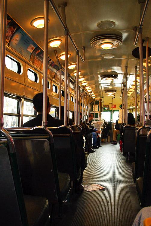 intérieur du tramway de San Francisco