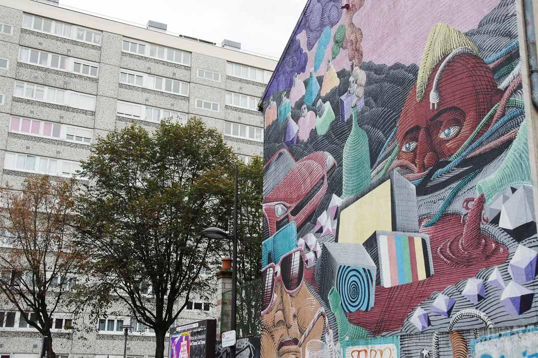 Fresque Vitry sur Seine Globalisation par Nunca