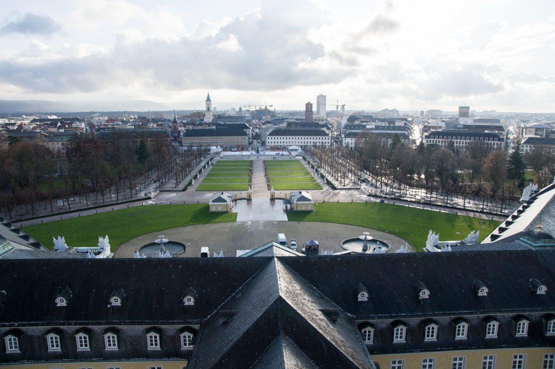 Panorama sur la ville de Karlsruhe depuis la tour du chateau