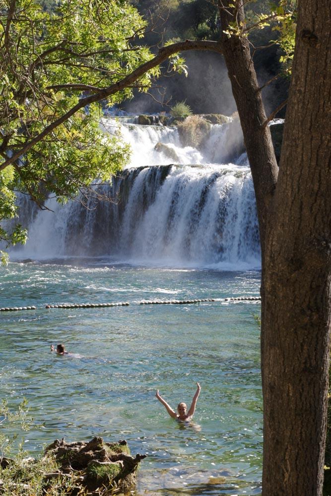 baignade dans le parc national de Krka