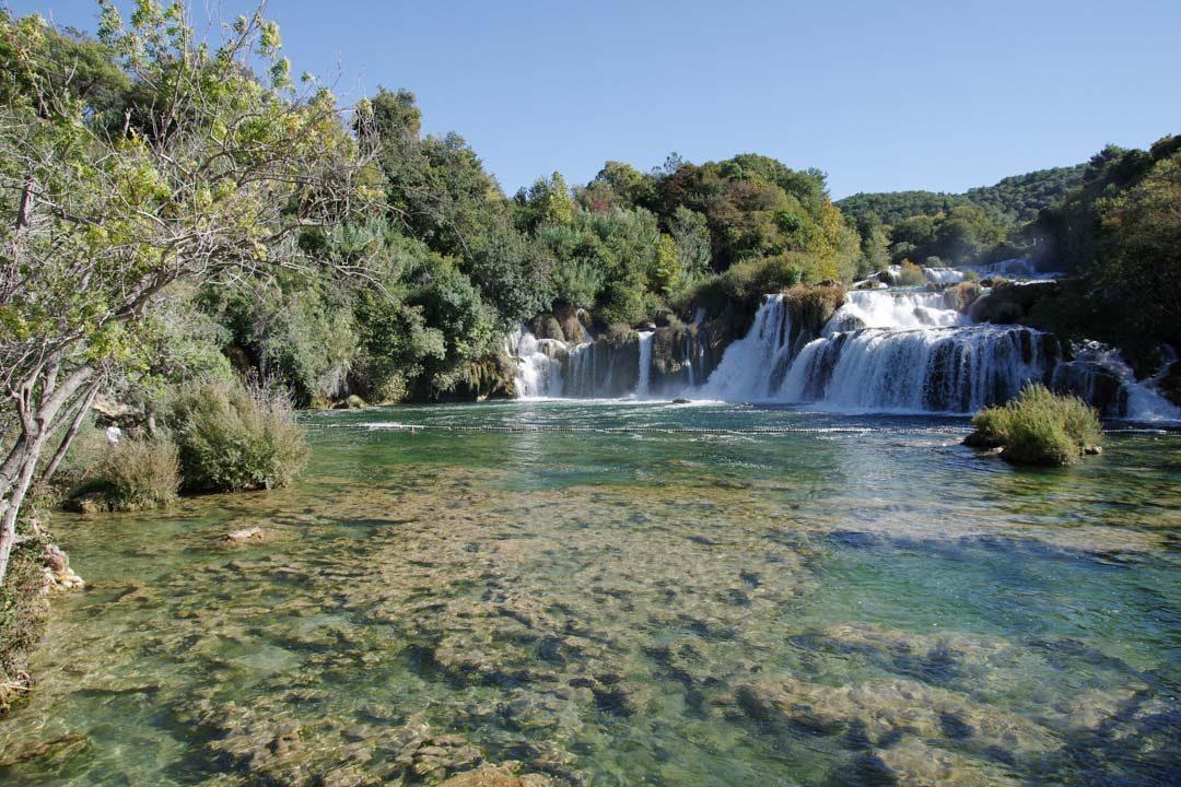 Cascade et point baignade du parc national de Krka en Croatie