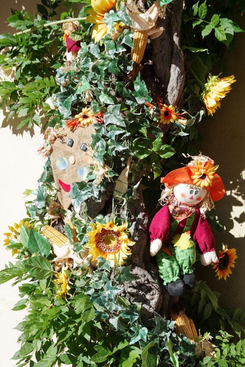 Décoration dans les rues d'Alsace sur le thème de l'Automne
