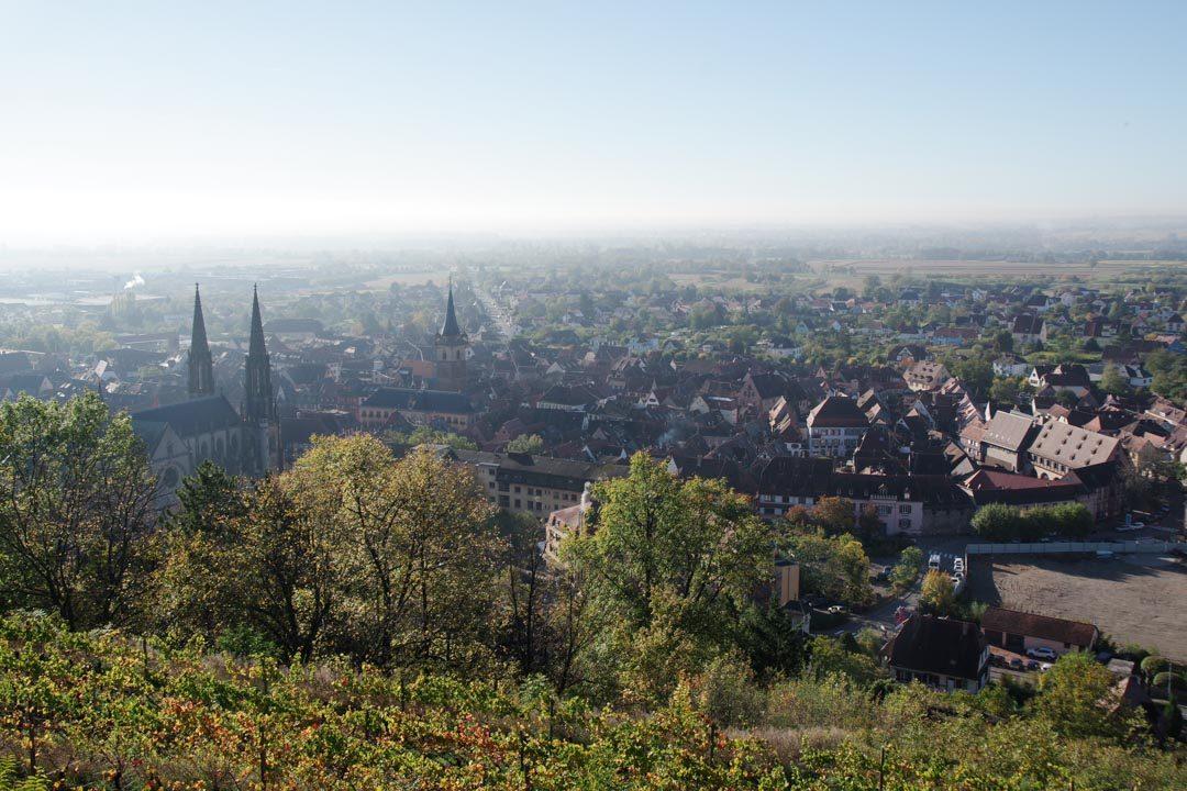 Panorama sur la ville d'Obernai depuis le Monument National
